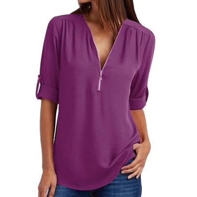 レディース 衣類 トップス Women V Neck Chiffon Blouse Shirts With Half-Zip Up In The Front ブラウス&シャツ