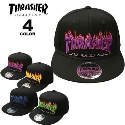 (公式)スラッシャー キャップ THRASHER FLAME LOGO SNAP BACK CAP 帽子 メンズ レディース ユニセックス 平ツバ スナップバック 全4色