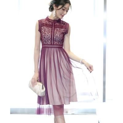 【ブルーイースト】 《結婚式 パーティー 二次会》スタンドカラーラメレースxチュール切替ドレス レディース ワイン M(01) BLUEEAST