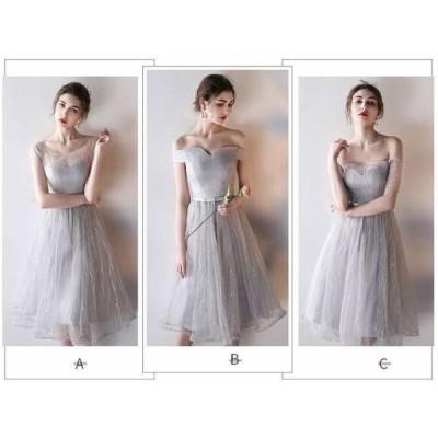 選べる6タイプ 透け感 可愛い ウエストリボン シフォン ロング フレア ワンピース 結婚式 パーティー 膝丈