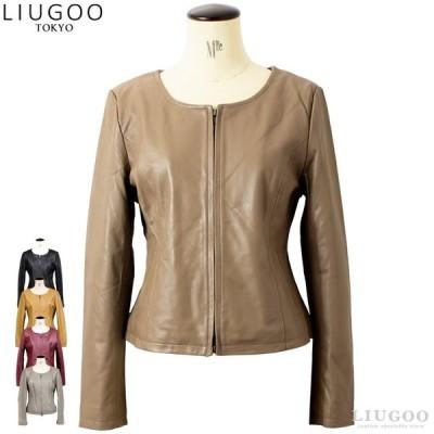 LIUGOO 本革 ノーカラーシングルジャケット レディース リューグー SRN01LA  レザージャケット ライダースジャケット AP