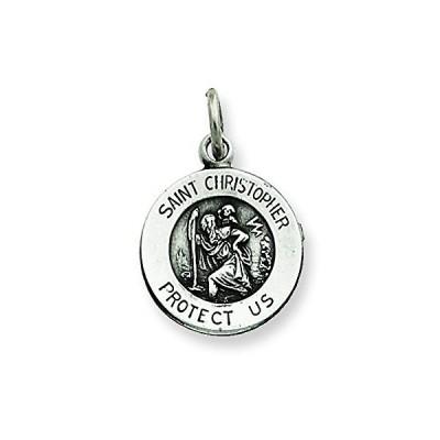 スターリング シルバー アンティーク Saint Christopher メダル ペンダント ネックレス チェーン インクルード(海外取寄せ品)