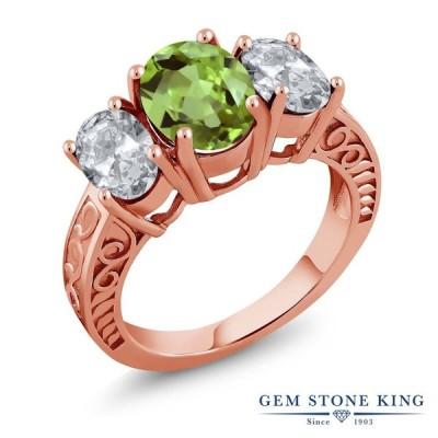 天然 ペリドット 指輪 レディース リング ピンクゴールド 加工 天然石 8月 誕生石 ブランド