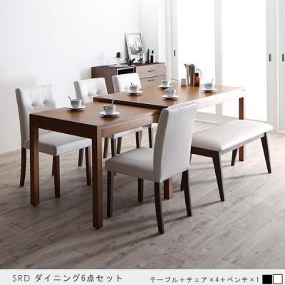 ダイニングテーブルセット 6点 伸縮テーブル ソフトレザーチェア ベンチセット 北欧モダン