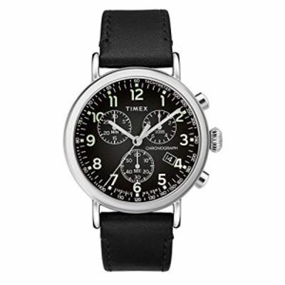 腕時計 タイメックス メンズ Timex 41 mm Standard Chronograph Leather Strap Silver/Black/Black One S