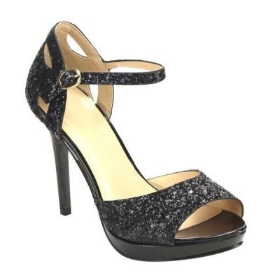 ヒール パンプス シューズ 靴 海外ブランド レディース Sparking Stiletto ヒール Peep Toe アンクルストラップ ドレス サンダル シャンパン;シルバー BLACK