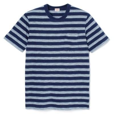 SALE Tシャツ ヘルスニット Healthknit インディゴスラブジャージ クルーネック 半袖Tシャツ メンズM (インディゴボーダー/フェードインディゴボーダー)