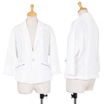 イッセイミヤケISSEY MIYAKE コットンポリメッシュショートジャケット 白1 【レディース】