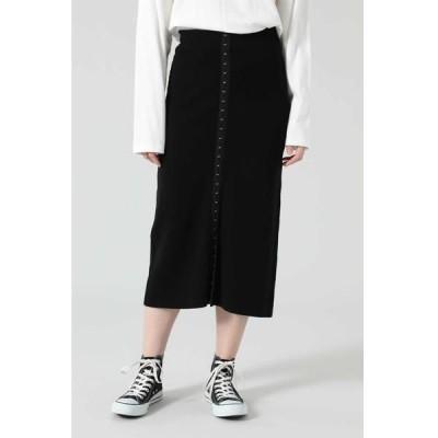 ROSE BUD/ローズ バッド フロントホックニットスカート ブラック -