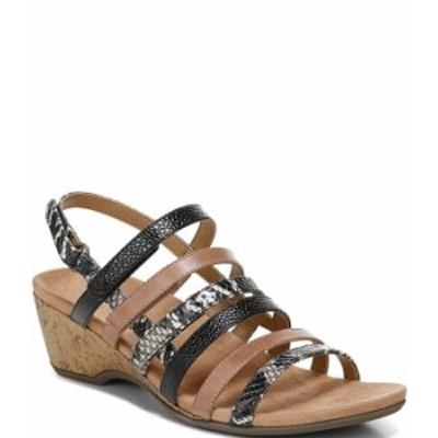 バイオニック レディース サンダル シューズ Tess Snake Print Leather Cork Wedge Sandals Black/Brown