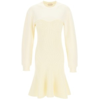 ALEXANDER MCQUEEN/アレキサンダー マックイーン White Alexander mcqueen bustier knit mini dress レディース 春夏2021 659953 Q1AUO i
