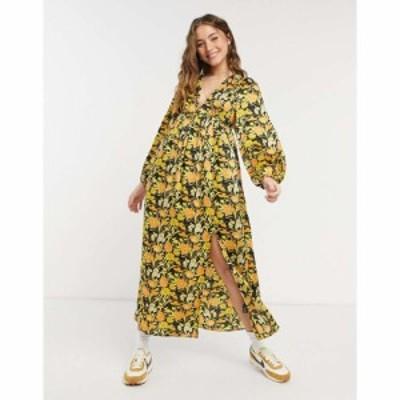 エイソス ASOS DESIGN レディース ワンピース ワンピース・ドレス Plunge Neck Midi Dress In Floral Print