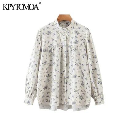 女性 2020 甘いファッション花柄ブラウスヴィンテージハイカラー長袖女性シャツ blusas トップス
