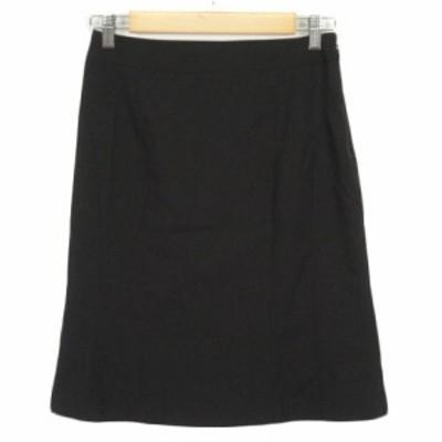 【中古】イネド INED スカート フレア ストライプ ウール 9 黒 ブラック レディース