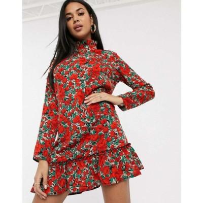 ミスガイデッド Missguided レディース ワンピース ワンピース・ドレス high neck smock dress with drop waist in floral print レッド