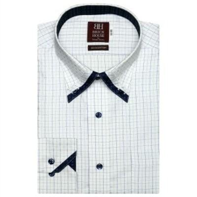 ブリックハウス(BRICKHOUSE)/形態安定 ノーアイロン 長袖ワイシャツ プリーツ マイター ボタンダウン ブルーチェック スリム
