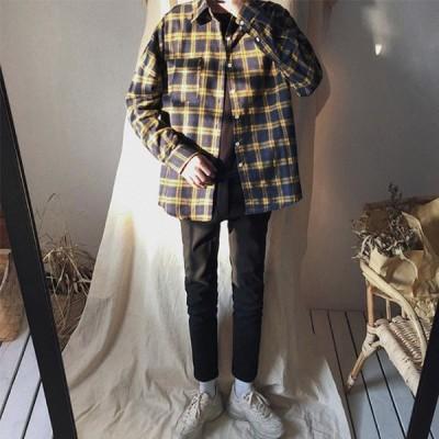 チエックシャツメンズ長袖シャツチエック柄カジュアルシャツトップス大きいサイズ服おしゃれファッション2020新作