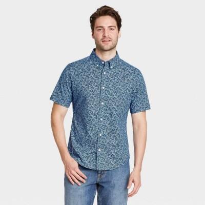 グッドフェロー Goodfellow & Co メンズ 半袖シャツ スリム トップス Slim Fit Stretch Poplin Short Sleeve Button-Down Shirt - Lapis Blue/Floral