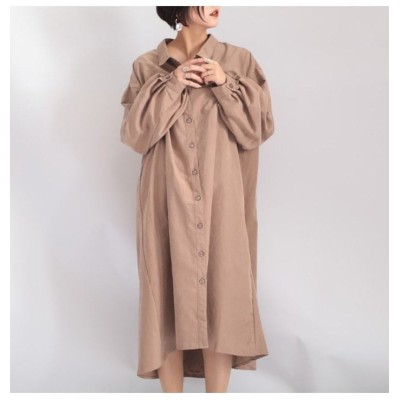 (GOLD JAPAN/ゴールドジャパン)大きいサイズ レディース ビッグサイズ バルーン袖バックリングシャツワンピース/レディース ピンク