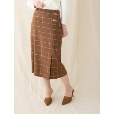 【ソフィラ/sophila】 チェックウールタイトスカート