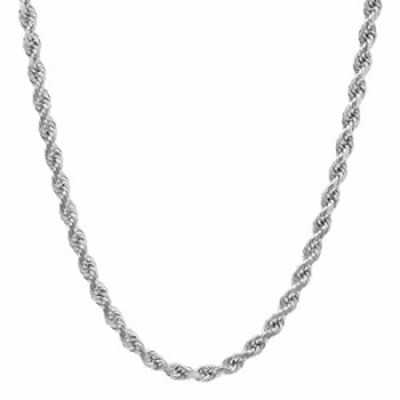 """NYC Sterling Unisex Sterling Silver 3.5MM Diamond-Cut Rope Chain Necklace (18"""")"""