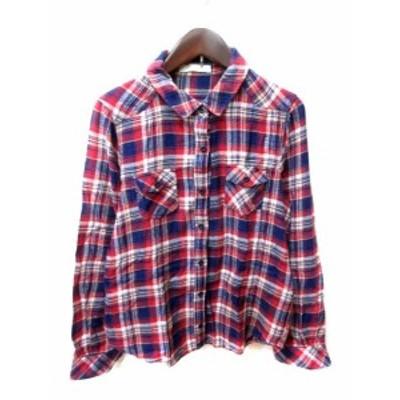 【中古】ショコラフィネローブ chocol raffine robe ネルシャツ 長袖 チェック マルチカラー /YI レディース
