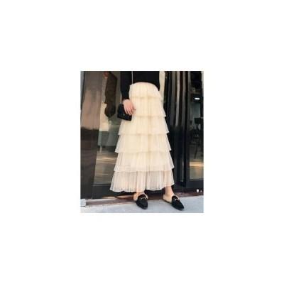 スカートレディースチュールスカート体型カバーボトムロング丈ハイウエスト春ティアードスカート可愛いWEマキシ