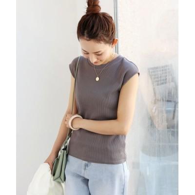 tシャツ Tシャツ テレコリブクルーネックフレンチスリーブTシャツ