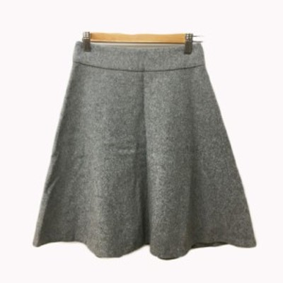 【中古】ジュエルチェンジズ Jewel Changes アローズ スカート フレア 膝丈 無地 ウール 34 グレー レディース