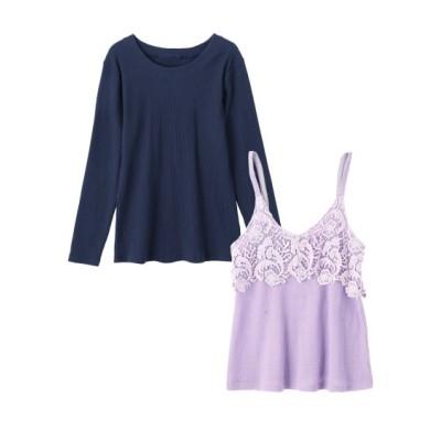 【大きいサイズ】 2点セット(薄手ニットキャミソール+プルオーバー) (大きいサイズレディース、ニット・セーター)plus size sweater, テレワーク, 在宅, リモート