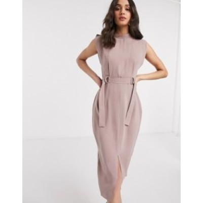 エイソス レディース ワンピース トップス ASOS DESIGN cap sleeve split sleeve midi dress with d-rings in pink Neutral