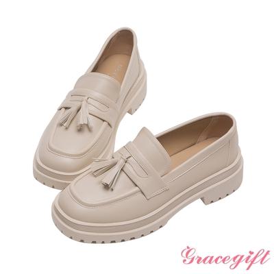 Grace gift-立體流蘇厚底樂福鞋 米白