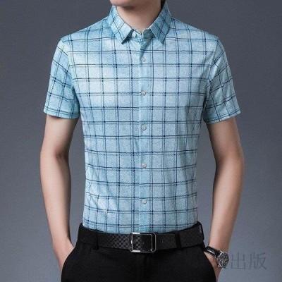 カジュアルシャツ メンズ 半袖 チェック柄 柄物 スリム 細身 ビジネス 夏