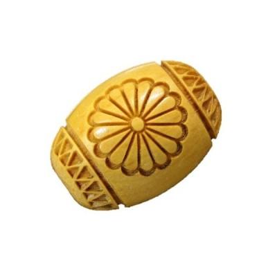 菊花紋章 横穴 柘植玉 浮彫 彫刻ビーズ 樽型 約18×13mm 【穴あり一粒売りビーズ】