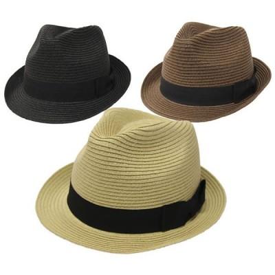 ストローハット メンズ レディース 麦わら帽子 60cm対応 プレーンペーパー中折れハット