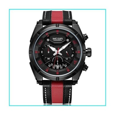 Megir Men's 24-Hour Chronograph Quartz Watches Fashion Leather Strap Luminous Hands Sports Wristwatch for Man Red【並行輸入品】