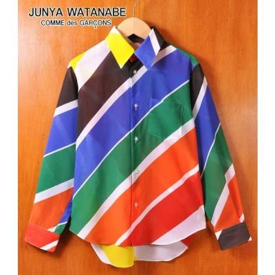 ジュンヤワタナベ コム・デ・ギャルソン ポリエステル 長袖シャツ マルチカラー 斜めストライプ柄 レディースS