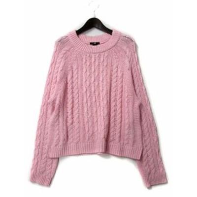【中古】エイチ&エム H&M ニット セーター EUR M ピンク コットン ケーブル ドルマン レディース