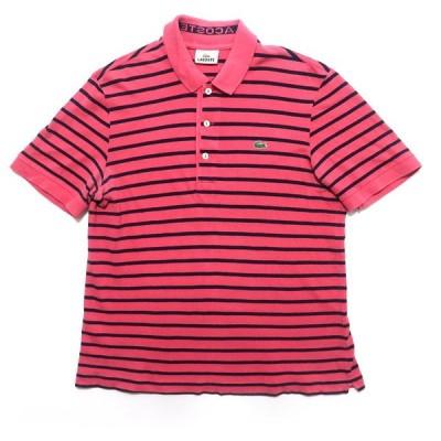 古着 ラコステ ワンポイント ロゴ ボーダーポロシャツ サイズ表記:3