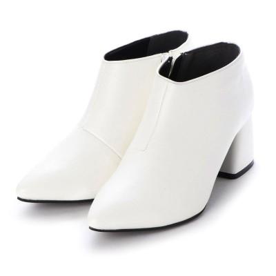 ミニア minia ブロックヒールベリーショートブーツ (ホワイト)