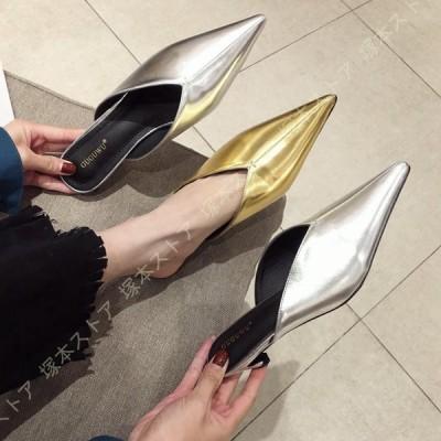 サンダル ミュール ピンヒール ローヒール スリッパ サボ ヒール3cm レディース 靴 シューズ ポインテッドトゥ カジュアル パンプス 痛くない 履きやすい
