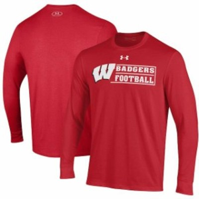 Under Armour アンダー アーマー スポーツ用品  Under Armour Wisconsin Badgers Red Sideline Football Long Sleeve T-Shirt