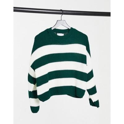 エイソス レディース ニット・セーター アウター ASOS DESIGN crew neck boxy sweater with multi stripes in green