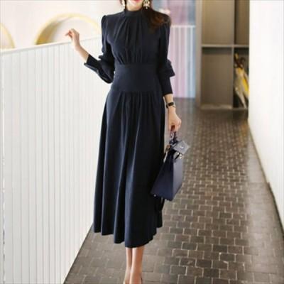 大人可愛いロング丈のワンピースドレス Aライン・フレア 無地 シンプル 体型カバー 長袖 秋冬 お出かけ