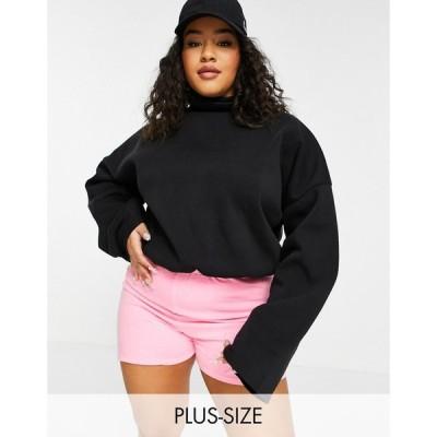 アイソウイットファースト I Saw It First Plus レディース スウェット・トレーナー トップス fleece lined sweatshirt in black ブラック