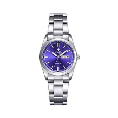 Fanmis光Quartz Watch Ladyドレス防水カレンダーステンレススチール腕時計シルバーブルー並行輸入品