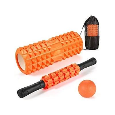 JUYEE フォームローラー 筋膜ローラー 【お得な3点セット】 ボール ヨガポール ストレッチグッズ 体幹トレーニング 収納袋付き 取扱説明書付 (