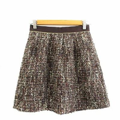 【中古】アプワイザーリッシェ Apuweiser-riche スカート フレア ミニ ツイード 2 茶色 ブラウン /AAM7 レディース