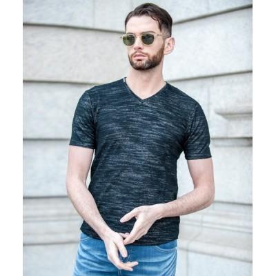 tシャツ Tシャツ MOSS(モス)グラデーション パイル Vネック Tシャツ