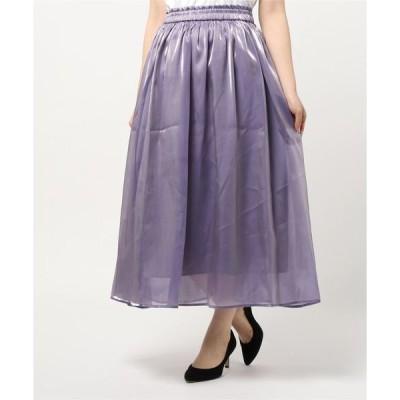 スカート 分繊サテンギャザースカート